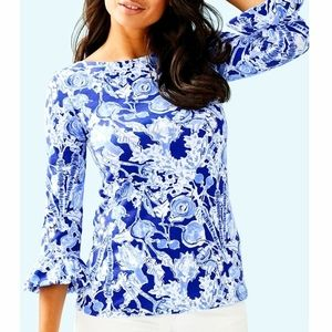 LILLY PULITZER / Blue Floral Flounce Sleeve Blouse